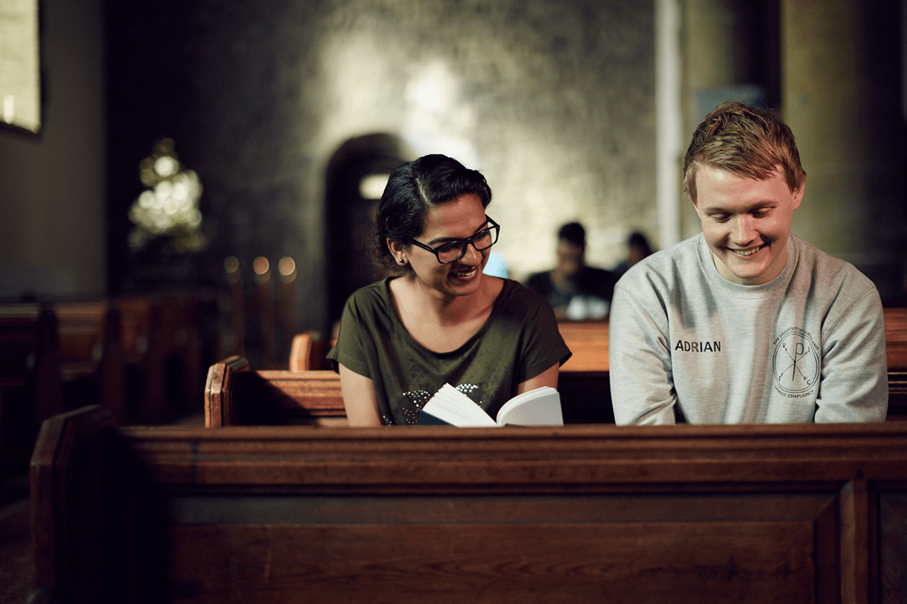 Students in a church