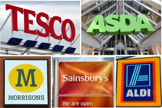 Collage of UK supermarkets