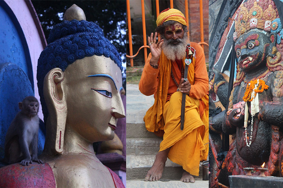 Selection of images from a student trip to Nepal featuring Buddhist statues