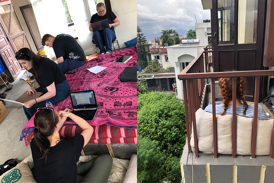 Students working in their accommodation on laptops in Nepal