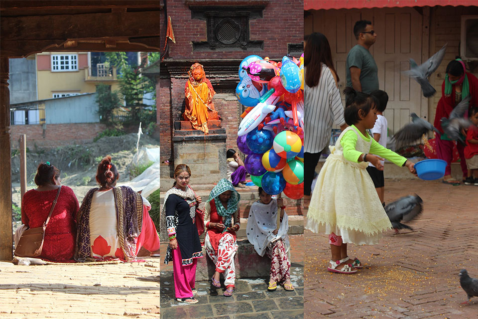 Selection of images from a student volunteer trip to Nepal featuring women and children