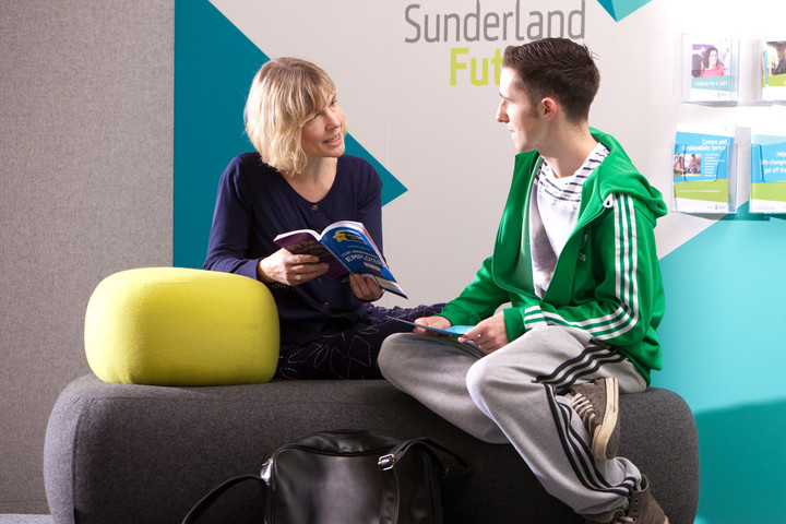 A student receiving guidance in Sunderland Futures