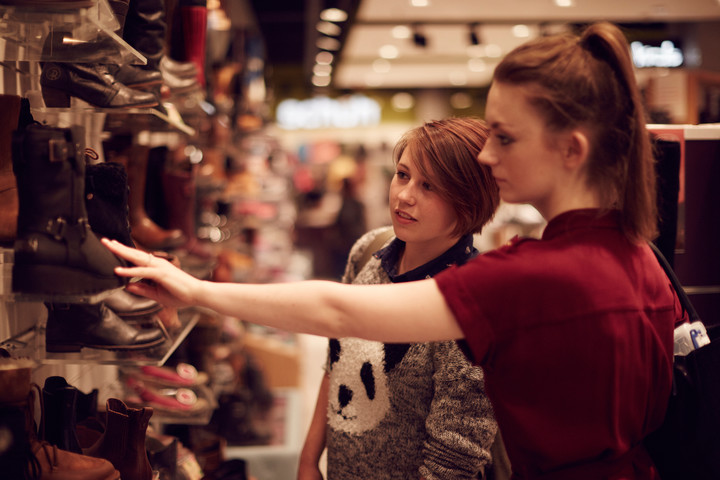 Student shopping in the Bridges shopping centre, Sunderland
