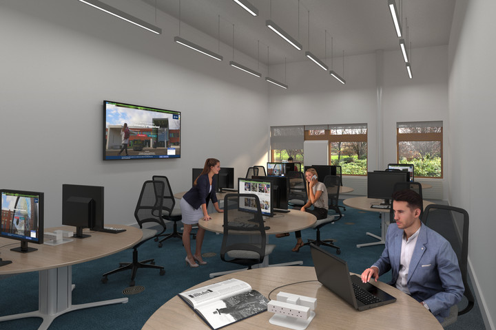An artist's impression of an editing suite in the Northern Centre of Photography