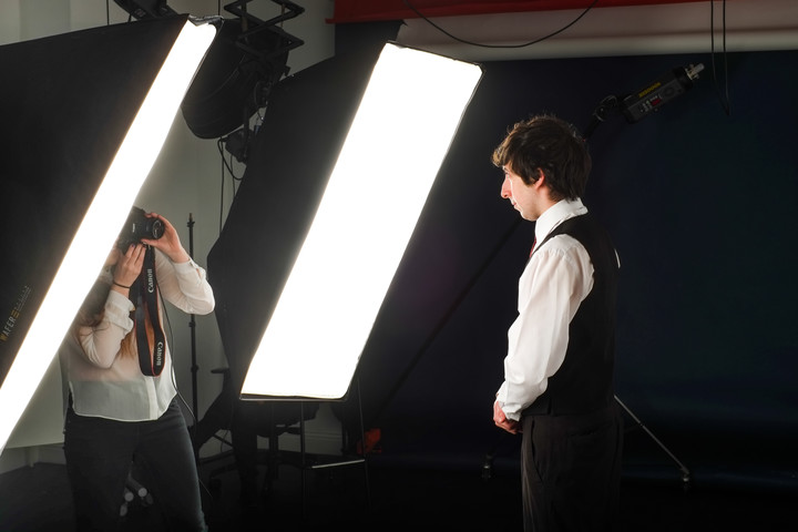 Photoshoot in a photography studio