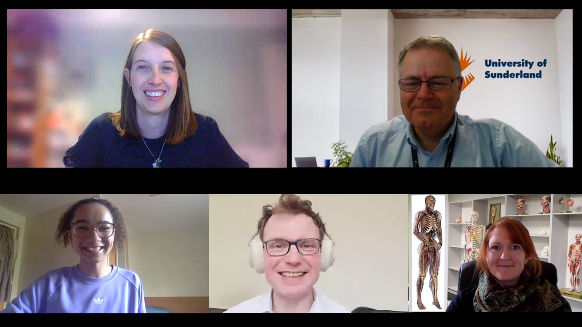 Still from medicine webcast recording showing host and panel members online
