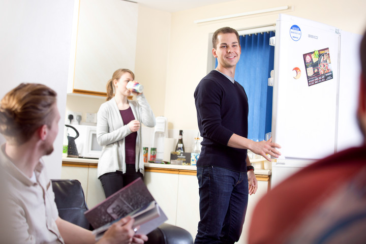 Students in the kitchen area of University-managed accommodation