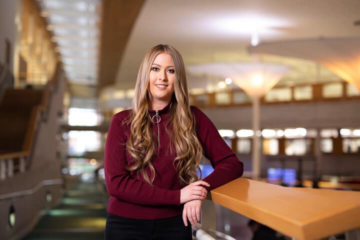 A female computing student in the David Goldman Informatics Centre