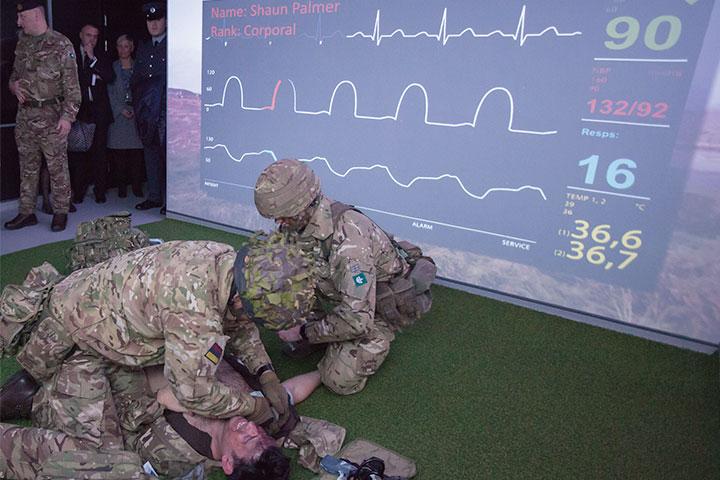 Armed Forces demonstrating medical procedure in Living Lab