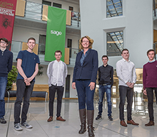 Helen Baker with Toby Jennings, Matthew Farnell, Carl Brown, Danny Goodall, Connor Devlin, and Jordan Stafford (right) at Sage in Newcastle