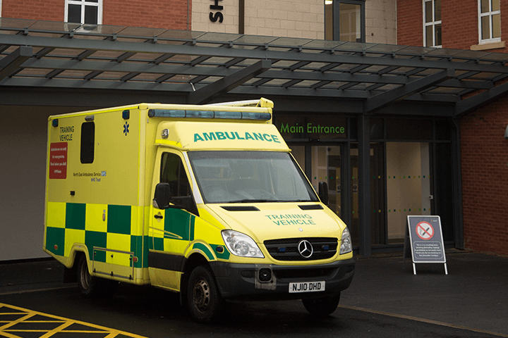Ambulance outside Shackleton house