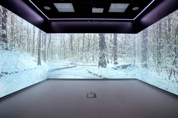 A room with 3 interactive walls displaying a winter scene