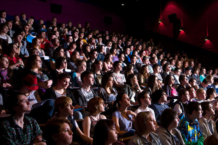 Students packed into the cinema