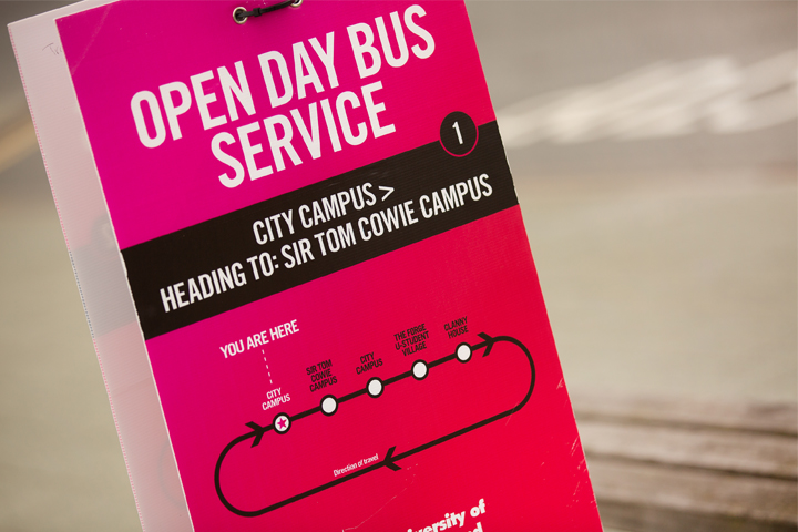 Travel signage at Open Day