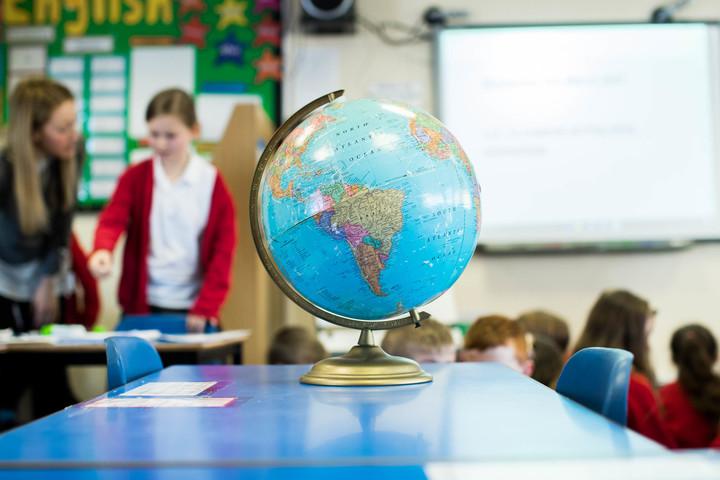 Globe in a classroom