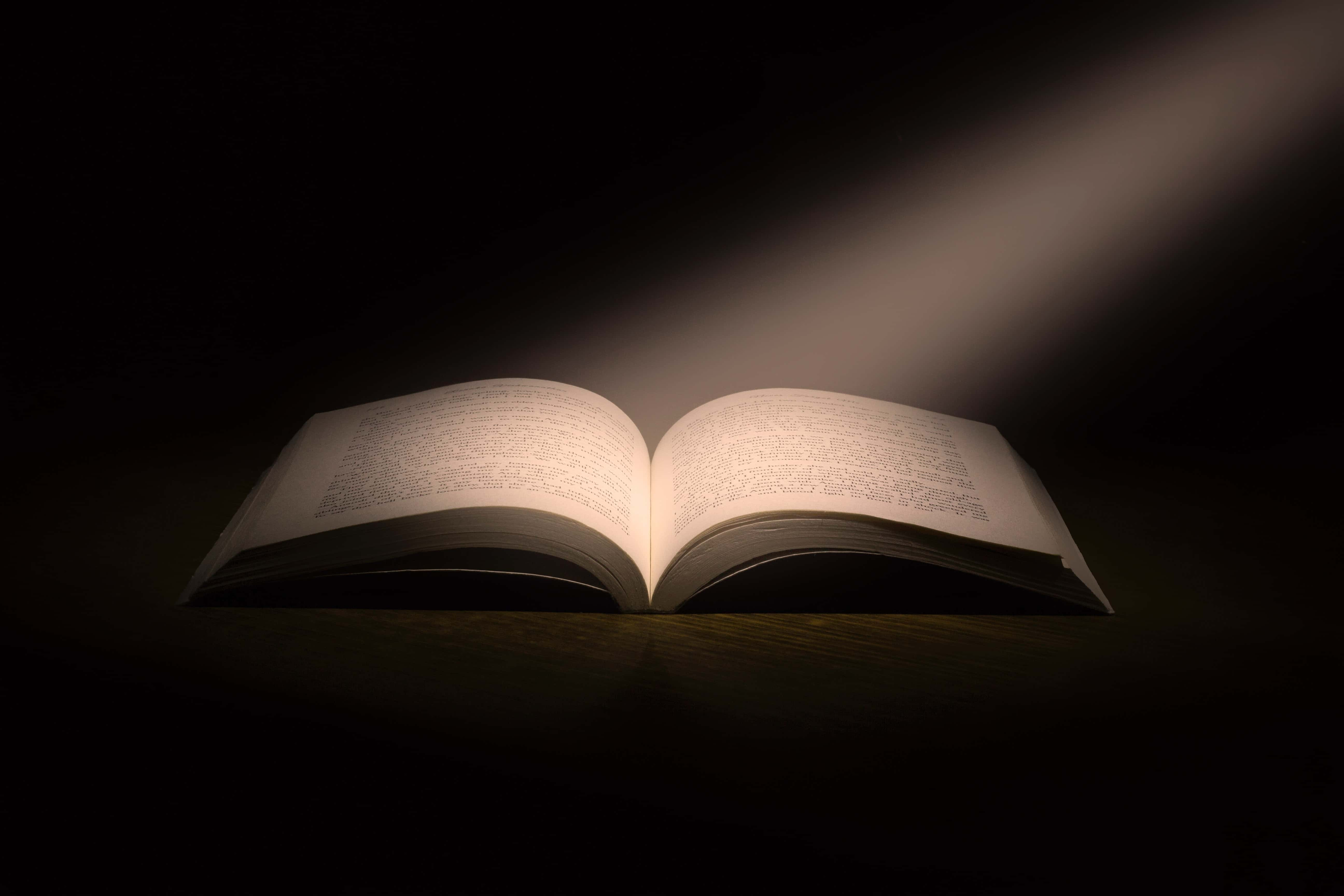 A Book with Light Shining on it