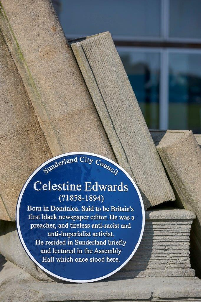 The Sunderland Heritage Blue Plaque commemorating Celestine Edwards