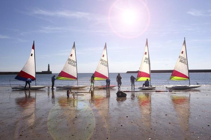 Sailing yachts on beach