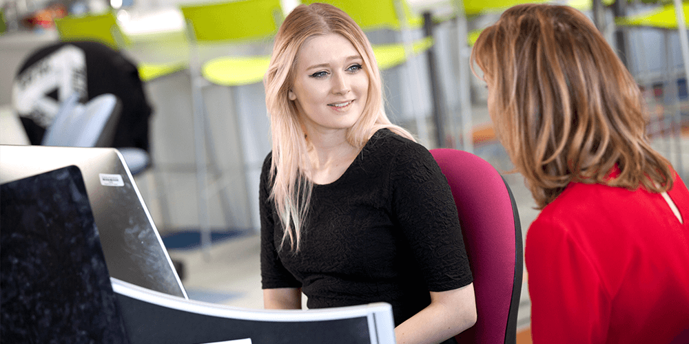 Student talking to a careers advisor