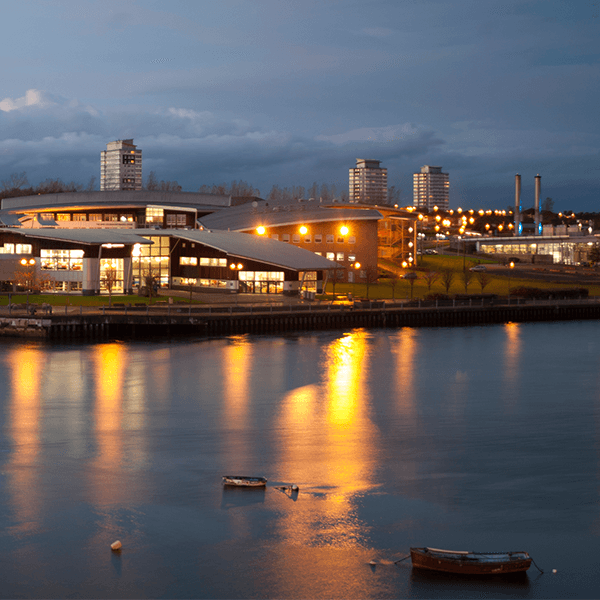The Sir Tom Cowie Campus at St Peter's by night