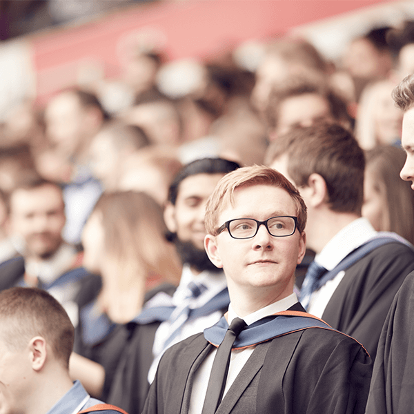 Students graduating at the Stadium of Light