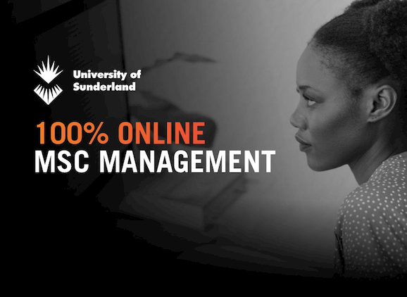 MSc Management online, student looking at a computer screen