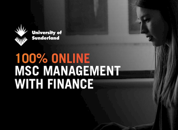 MSc Management with Finance, student using a laptop
