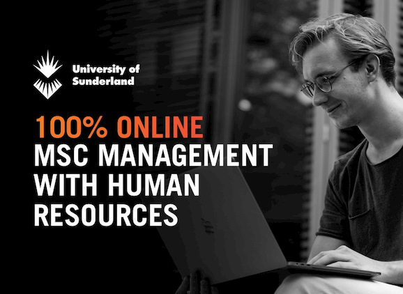 MSc Management with HR, student using a laptop