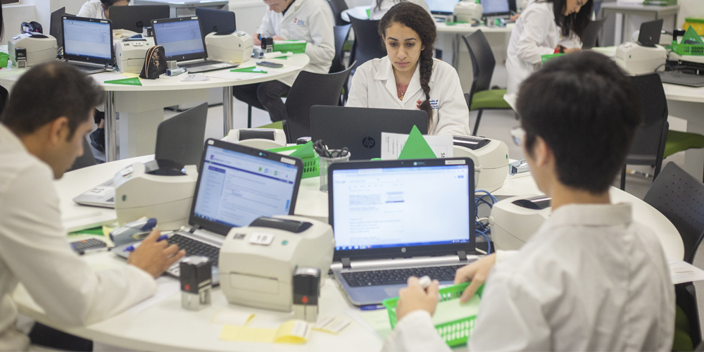 Pharmacy students in classroom working on laptops