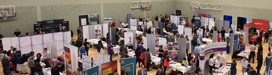 Lots of students and employers at the Graduate Recruitment and Placement Fair from above